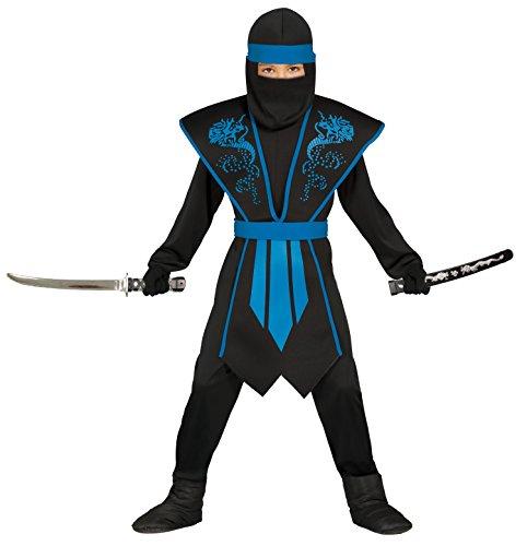 Ninja Kostüm Kinder blau-schwarz mit schicker Rüstung - Ninja Kostüm Jungen- Ninja Kostüme für Kinder (128/134)