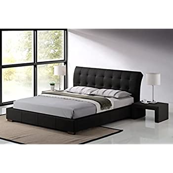 Modern Furniture Direct Fabio King Size Designer Leather Bed Frame, 5 Ft,  Black