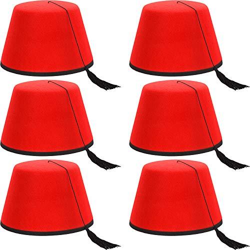 SATINIOR 6 Packungen Roter Türkischer Fez-Filzhut Türkischer Shriner Fez-Hut mit Schwarzer Seidiger Quaste