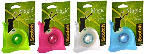 scotch-brand-45023-magic-810-dispenser-lumaca-ricaricabile-colori-misti-con-1-rotolo-di-nastro-adesi