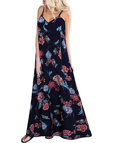 Women's Summer Dresses Floral Print V Neck Sleeveless Maxi Boho Cocktail Party Beach Ladies Sun Dress Navy Size 2XL/UK 18