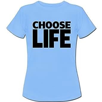 Fancy A Snuggle Choose Life Wham Womens T-Shirt Sky Blue Large