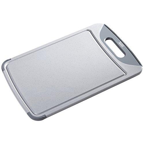 Silit 2142235354 Schneidebrett mit Saftrille und 1 Griff, hochwertiger Kunststoff, 45 x 30 cm, grau