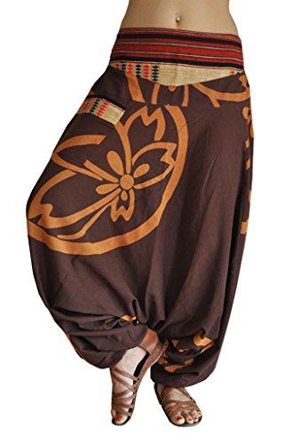 88c08d9e22b1 virblatt UNISEX pantaloni alla turca in stile harem con fantasia tessitura  tradizionale pantaloni cavallo basso con motivi fiori di loto Taglia unica  dalla ...