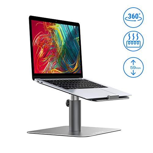 Yoozon Laptop Ständer mit Lüfter, 360°drehbar Höhenverstellbar Notebook Ständer, Aluminium rutschfest Laptop Stand Universal Halter für Apple MacBook Dell Samsung HP ASUS alle Notebooks(Silbergrau) -