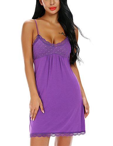 Monrolove Frauen Nachtwäsche Chemise Nachthemd Full Slips Lace Trim unter Kleid Lila S (Lace-slip-full Slip)