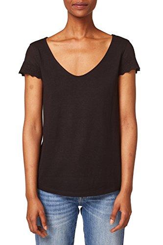 edc by ESPRIT Damen T-Shirt 048CC1K098, Schwarz (Black 001), Small