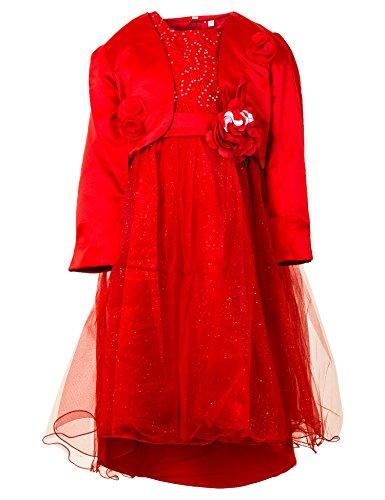 Festliches Mädchen Kleid mit Bolero Hochzeit Festkleid Blumenmädchen in vielen Farben M276rt Rot...