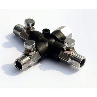 Schwarz Freitag Sales Abest Airbrush Schlauch Gelenk 3Way Air Klinkenbuchse Fitting 1/20,3cm mit einstellen Knopf, Ventil