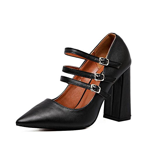 LvYuan-mxx Talon Femme / Printemps Automne Hiver / Décontracté Ankle Strap Cuir / Chunky Talon Pointu orteil / Boucle / Bureau & Carrière Robe / sandales BLACK-37