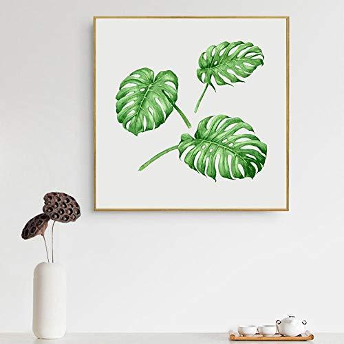 wydlb Aquarell Tropische Pflanze Blatt Leinwand, Kunstdruck quadratische Poster, Tropische Pflanze Blatt, Wandbilder für Hauptdekoration Wand Dekor 60x60cm kein Rahmen