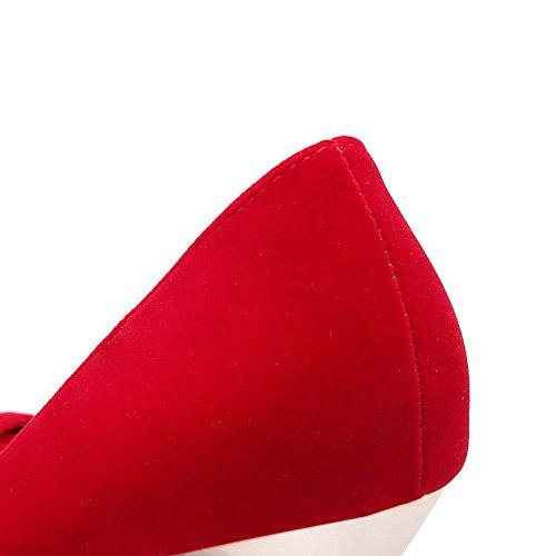 VogueZone009 Donna Plastica Tirare Scarpe A Punta Punta Chiusa Tacco A Spillo Puro Ballerine Rosso