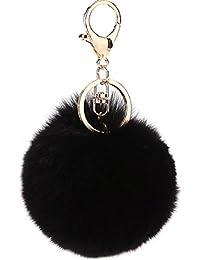 NOVAGO® Lot de 3 Pompon Porte Clé Bijou de sac à main en véritable poil de lapin , toucher doux garanti