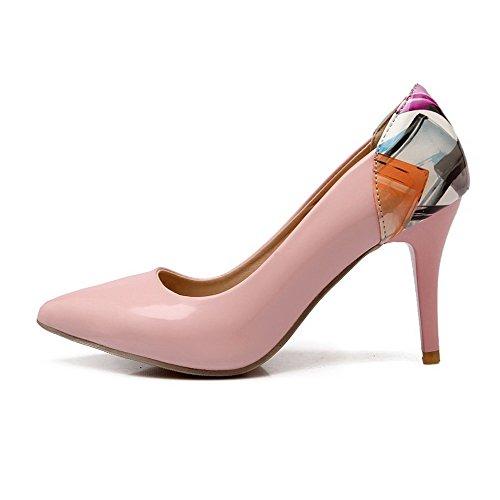 VogueZone009 Donna Luccichio Tacco Alto Punta Chiusa Scarpe A Punta Colore Assortito Ballerine Rosa