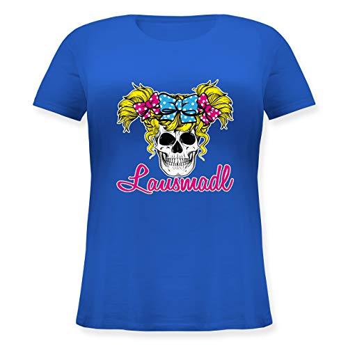 Oktoberfest Damen - Lausmadl Totenkopf mit Schleifen - S (44) - Blau - JHK601 - Lockeres Damen-Shirt in großen Größen mit Rundhalsausschnitt -