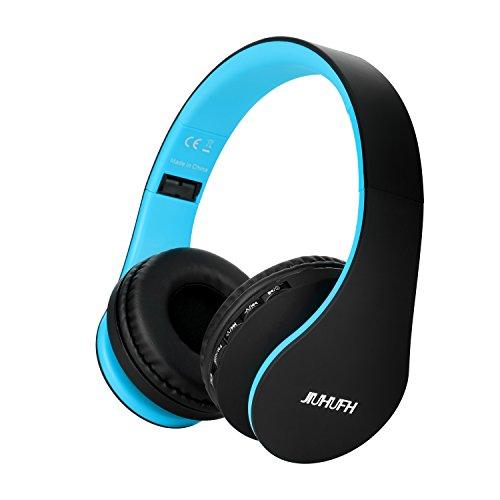 JIUHUFH Auriculares Inalámbricos Sobre el oído, Auriculares Plegables Bluetooth con Micrófono Incorporado / 3,5 mm Auriculares con Entrada de Audio/Cómodos para PC/Teléfonos Celulares - Negro Azul