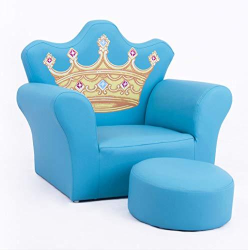 Kinder Sofa Set Kinder Sessel Stuhl PU Leder Sitz Hocker Sitz Diamant Krone Dekorative Sofa,Blue - Krone Sitz