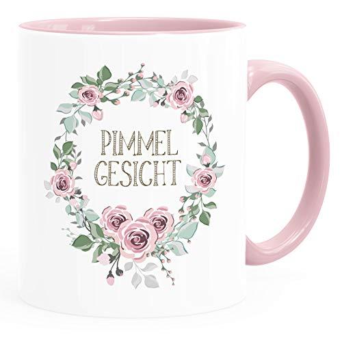 MoonWorks® Kaffee-Tasse mit Spruch individuell anpassbar Schimpfwörter Beleidigung Ironie Sarkasmus Geschenk lustige Büro-Tasse Pimmelgesicht rosa unisize