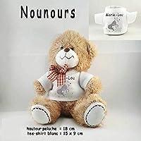 Peluche Nounours avec un Tee shirt Loup Personnalisable avec un Prénom Exemple Marie-Lou