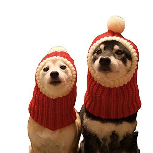 NACOCO Lustige Weihnachtsmütze mit Pompon gehäkelter Schal für Hunde, Rot Warme Wintermütze Strick Schal Kopfbedeckung für Haustiere & Frauen & Mann, M, rot