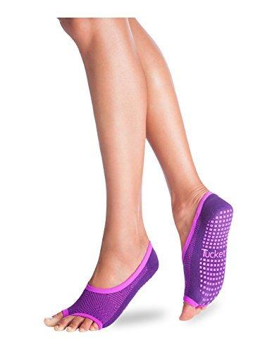 Tucketts Womens Pilates Yoga Toe Socks, Toeless Non Slip Skid - Ballerina Style (Traube)