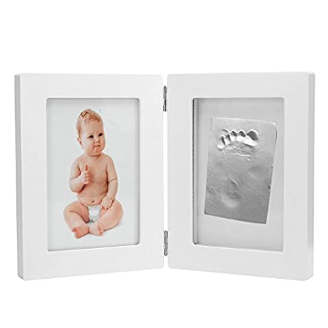 Mogoko baby Kinder Bilderrahmen für Handabdruck- und Fussabdruck Echtholz Babyrahmen mit sicherem Acrylglas und keine giftigen Abdruckmasse Foto Erinnerung Abdruck