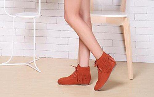 Wealsex Bottes Plates Suédé Automne Hiver Tassel Lacets Boots Femme Taille 33-43 brun fourré intérieur