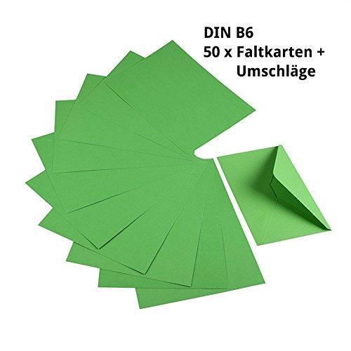 Sparset 50 x Faltkarten DIN B6 grün + 50 x passende Umschläge - Faltkarte