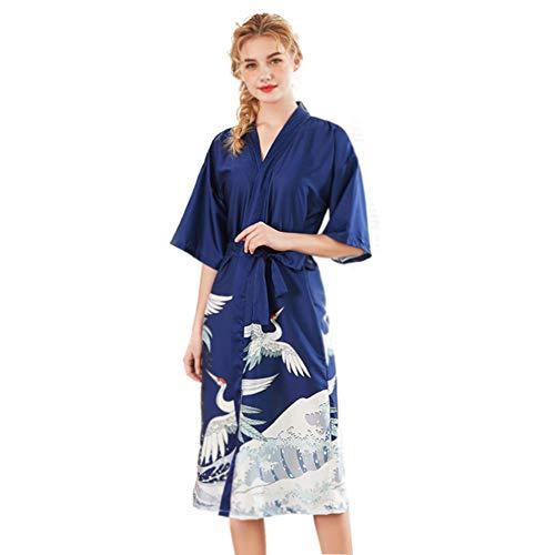 MEMIND Marry Pyjamas Komfortable Satin glatt Ms V-Ausschnitt Frühling und Sommer Langer Abschnitt Brautjungfer Rote Braut Morgenmantel Startseite Nacht Kleid M-XXL,Blue,XXL