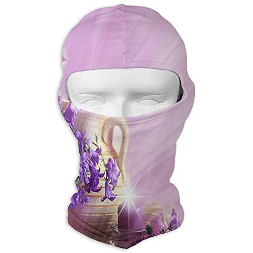 Hoklcvd Balaclava Purple Flower Clipart Butterfly Full Face Masks Ski Motorcycle Neck Hood Fashion11 -