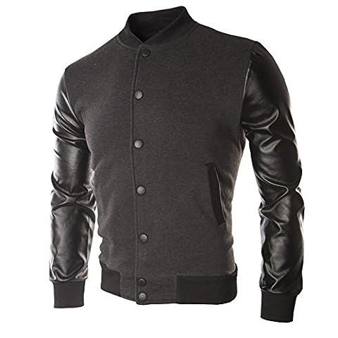 Manteau d'hiver - Blouson - veste simili cuir homme - Gris, L