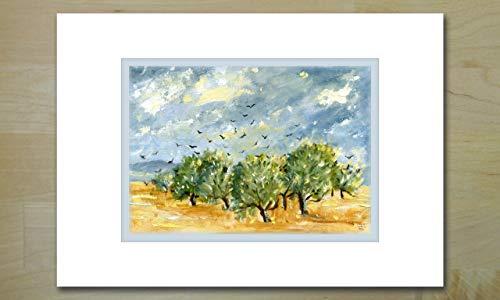 Olive Vögel ('Les Oiseaux sur les Oliviers' (Vögel auf Oliven) Kunstgrußkarte für jede Gelegenheit)