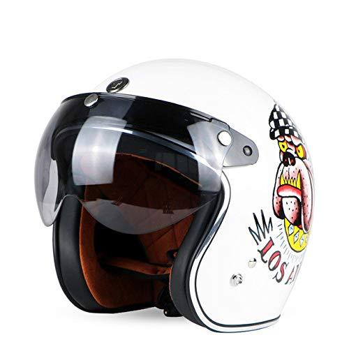 Berrd Casque de Moto Retro Open Motocross Motocross Jet Casque Retro Casque de Moto Angles W Visor XXL