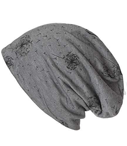 Caripe Long Beanie Mütze Slouch Damen Herren Camouflage Anker Sterne - su99 (Pusteblume - grau - 99)