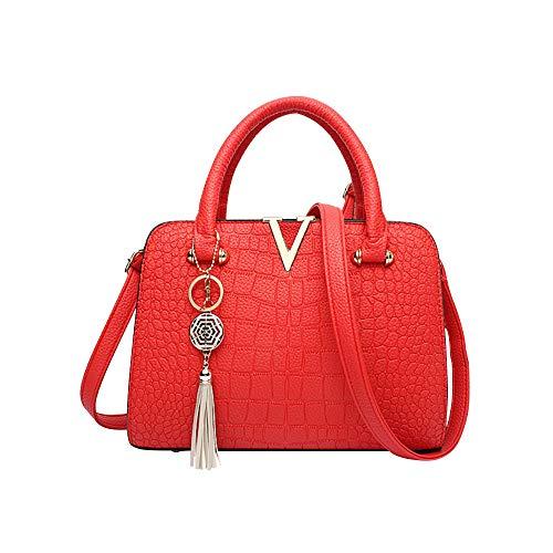 Felicove Frauen Messenger Bag, Krokodilleder Tasche Frauentasche Fransen Tasche Shopper Handtasche Neue Marken Schultertasche Lässig Citytasche Festivalgeschenk mit V Buchstaben