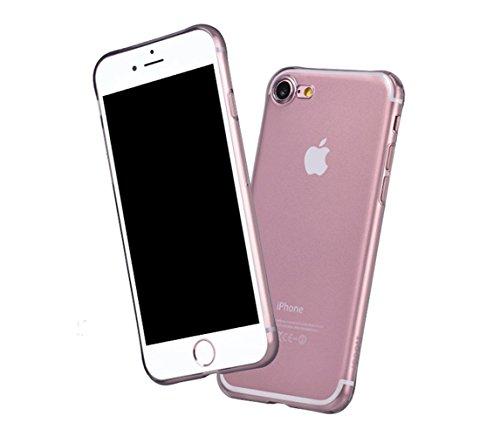 Coque iPhone 7, PUGO TOP® Coque iPhone 7 Mat Clair Housse Etui TPU Silicone Clair Transparente Ultra Mince Premium Semi- transparent / une Adhrence exacte / Sans Encombrement Douce Coque pour iPhone 7 Noir Cristal Transparent