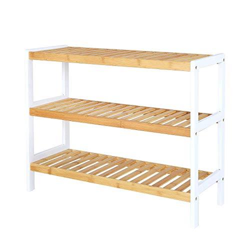 Schuhregal mit 3 Ablagefächern, Schuhschrank, Bambusregal, Standregal, Küchenregal, Wohnzimmerregal, 70 x 26 x 55 cm (naturfarben/weiß)