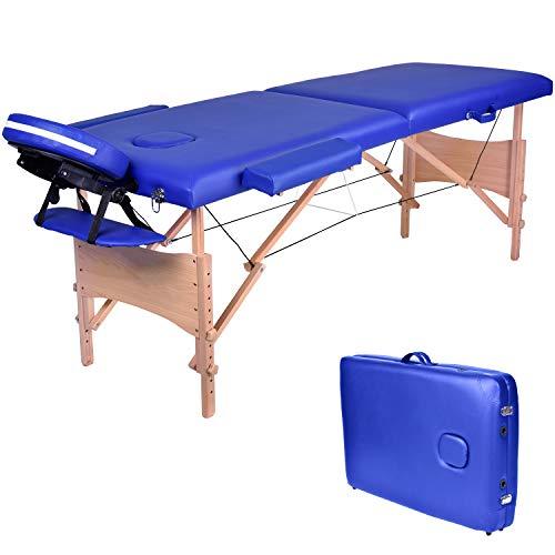 Wellhome lettino da massaggio 2 zone legno pieghevole portatile lettini massaggi professionale tavolo da massaggio tattoo fisioterapia con borsa da trasporto xxl(blu)