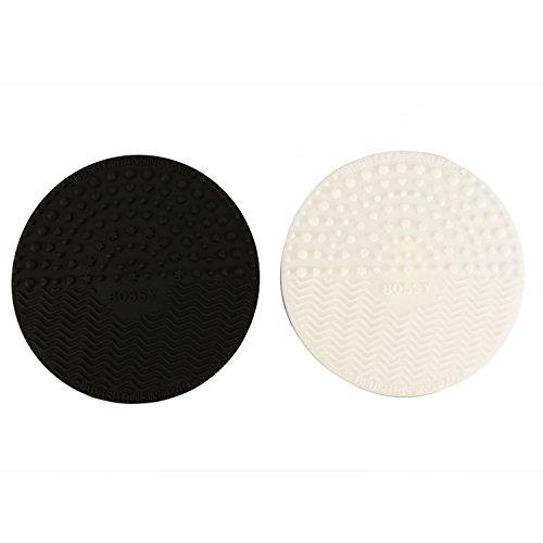 Pinzhi -2pcs Mini Tapis Silicone pour Nettoyage de Pinceaux à Maquillage Nettoyeur Brosse de Maquillage avec Ventouse - Blanc+ Noir