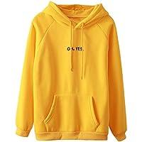 "LONSHELL Suéter de manga larga para mujer, con la frase ""OH, YES"", para jóvenes, sudadera de manga larga, jersey con capucha, mujer, amarillo, medium"