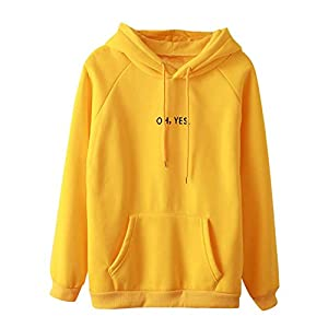 BaojunHT Womens Letter Print Hoodie New Pullover Tops Yellow Casual Sweatshirt Blouse