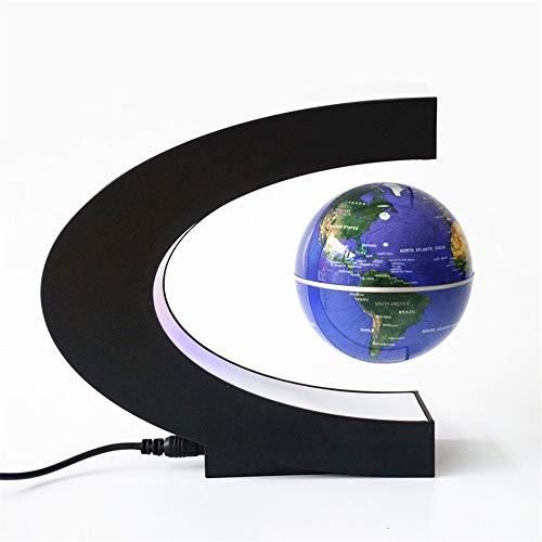 Educacion fisica Globo flotante con luces LED en forma de C Mapa magnético del mundo de Levitating magnético para la educación, decoración del escritorio del hogar El regalo ideal para los niños.