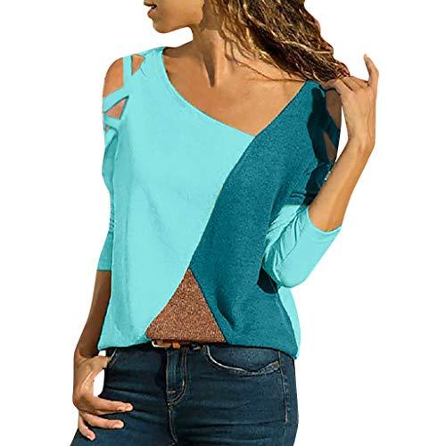 iHENGH Damen Top Bluse Lässig Mode T-Shirt Frühling Sommer Frauen Bequem Blusen Casual Panel Tops Rundhals Lange Ärmel Schulterfrei (Blau, L) -