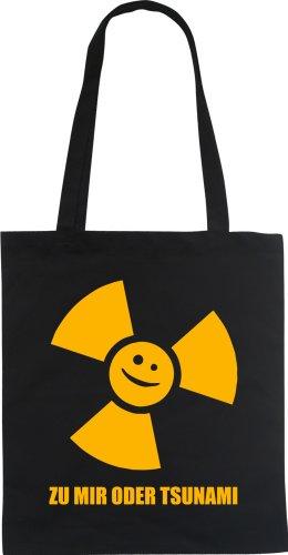 Per Me O Tzunami Stilista Divertente Borsa Tote Bag In Cotone Borsa Nera Wizuals