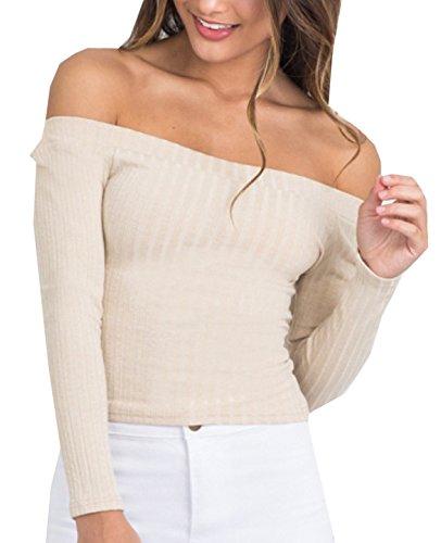 Autunno Inverno Casuale Donna Corti Maglione da Maglieria Elegante Pullover Jumper Maniche Lunghe Fuori Spalla Strette T-shirt Bluse Camicie Tops Beige