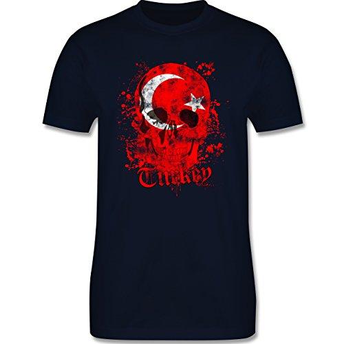 EM 2016 - Frankreich - Turkey Schädel Vintage - Herren Premium T-Shirt Navy  Blau