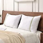 مجموعة وسائد سرير فندقية محشوة ببديل الريش للنوم من جيه زد اس مقاس كوين مكونة من قطعتين