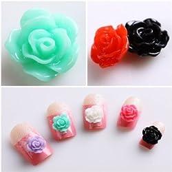 Leegoal New Colorful Acrylic 3D Rose Flower Slices UV Gel Nail Art Tips DIY Decorations, 20pcs