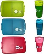 مجموعة صندوق غداء يحوي 3 حجرات وقارورة مياه مصنوعة من البلاستيك ومضادة للتسرب وخالية من BPA لتحضير الطعام والت