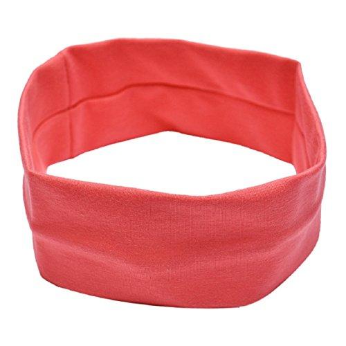 BZLine® Frauen Baumwolle Yoga elastische Turban Haar Band Stirnband (Pfirsich-Rot) (Haar-band)